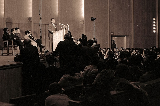 Martin Luther King Jr. speaks at Kleinhans Music Hall