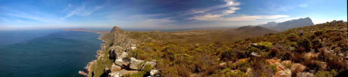 Panoramic view of the Cape of Good Hope, Africa's Southwest most point. The fynbos of South Africa is an ecologically important shrubland found in the country's Cape Floristic Region, one of the richest repositories of plant life on Earth.