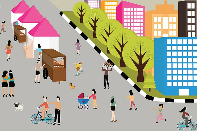 Illustration of a healthy urban community where people are walking, jogging, riding bikes and enjoying an open market.