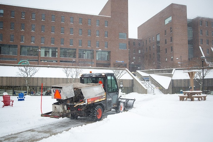 A North Campus walkway is plowed during a recent snowfall.