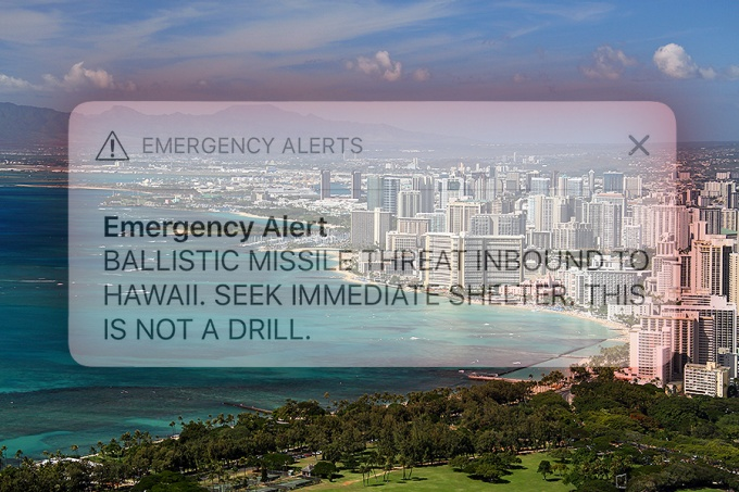 View of Waikiki from Diamond Head (Honolulu, Hawaii) with superimposed emergency alert that was sent in error on Saturday, January 13, 2018.