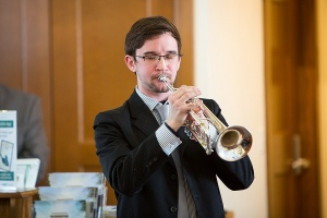 SUNY Fredonia student Matthew J. Caputy played taps during the ceremony.