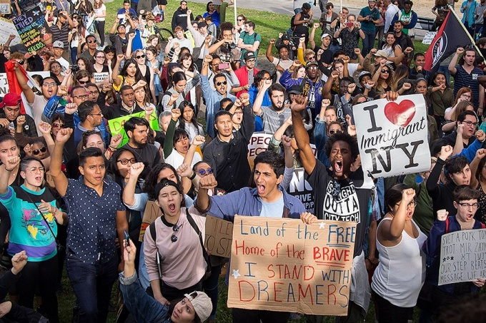 March and rally/protest in response to the rescission of Deferred Action For Childhood Arrivals (DACA) in New York City on September 9, 2017. The march began in Columbus Circle by the Trump International Hotel and Tower, went up Central Park West and turned into Central Park.
