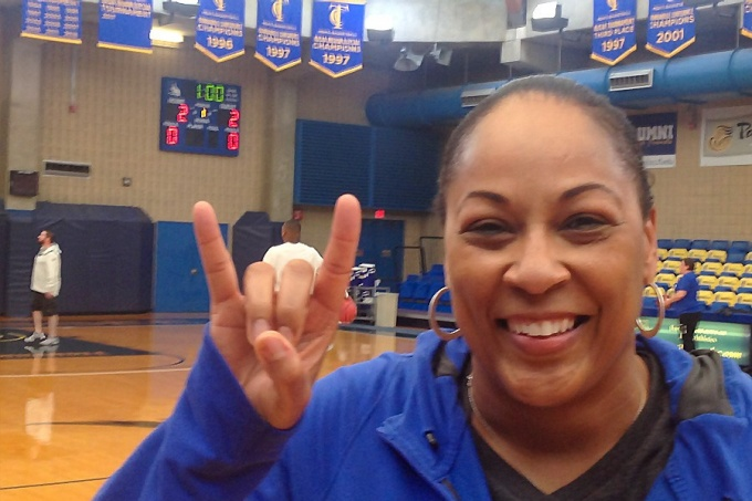 Coach Felisha Legette-Jack throws her horns up during practice in Tallahassee, FL.