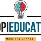 "Opieducate logo featuring an illustration of a brain inside a light bulb and the word ""Opieducate"" and ""Make the change."""