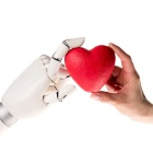Concept of robot love: human hand and robot hand hold a red heart.