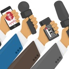Illustration of live report concept, live news, hands of journalists with microphones and tape recorders.