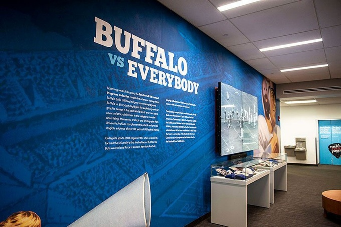 """Buffalo vs Everybody"" exhibit in the Silverman Library."