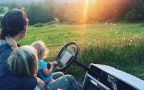 Katie McClain-Meeder and her daughters Charlotte and Flora enjoy a beautiful sunset on their farm south of Franklinville in Cattaraugus County. (Taken August 5).