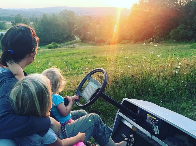Katie McClain-Meeder and her daughters Charlotte and Flora enjoy a beautiful sunset on their farm south of Franklinville in Cattaraugus County. (Taken August 5)