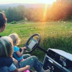 Katie McClain-Meeder and her daughters Charlotte and Flora enjoy a beautiful sunset on their farm. (Taken August 5)