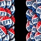 Left wing and the right vote badges as a United States election or American voting concept as a symbol with conservative and liberal political campaign or US politics for government legislators and representative.