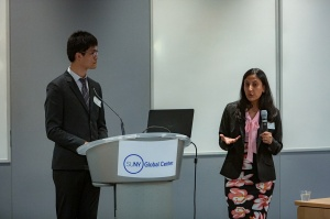 mRehab team members Sutanuka Bhattacharjya and Chen Song present during the Aging Innovation Challenge finals in New York City.