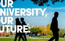 "Faculty Staff Campaign graphic featuring a photo of silhouetted students walking across a bright autumn campus and the words ""Our University, Our Future.""."