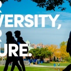 "Faculty Staff Campaign graphic featuring a photo of silhouetted students walking across a bright autumn campus and the words ""Our University, Our Future."""