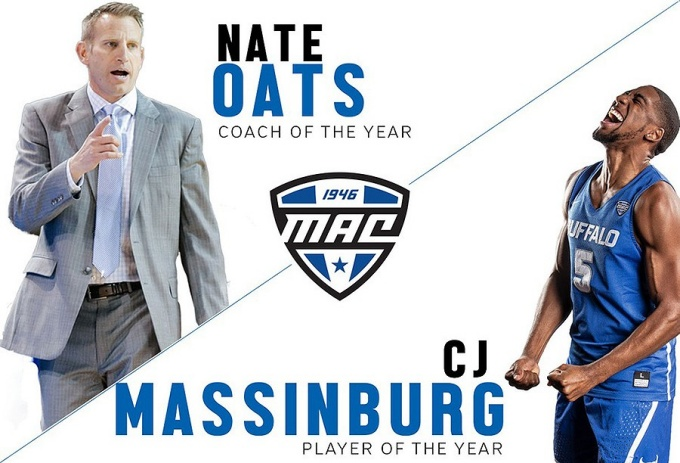 Nate Oats, coach of the year. MAC logo. CJ Massinberg, player of the year.