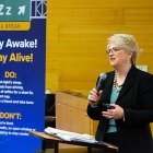 "Maureen Kozakiewicz, GTSC state program coordinator for drowsy driving speaks to students during the ""Stay Awake! Stay Alive!"" program."