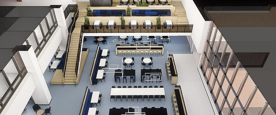 Rendering of an overhead interior view of One World Café.