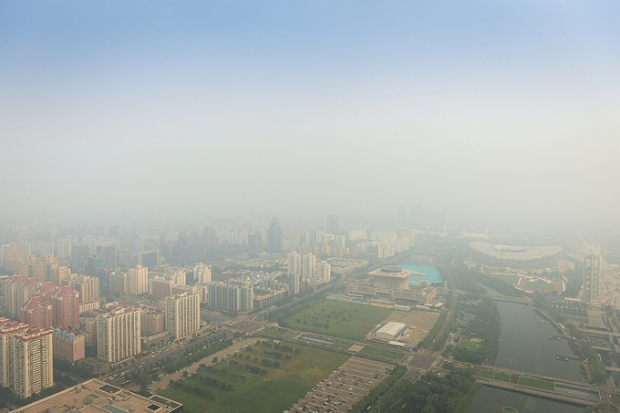 View of the smoggy Beijing skyline.