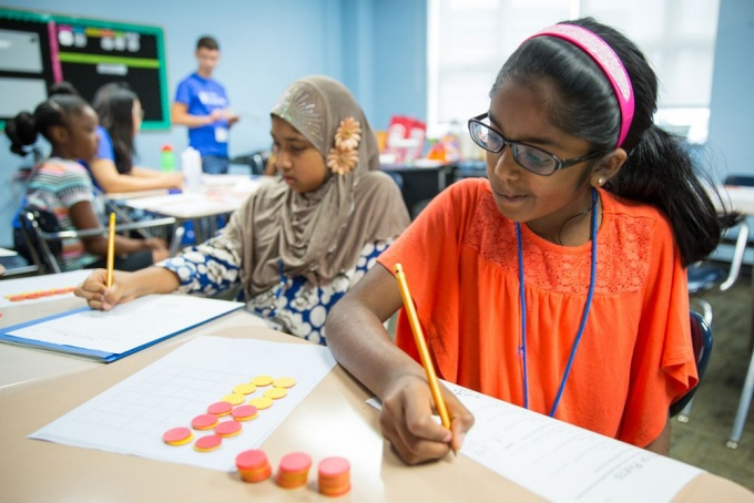 Students in the UB Summer Math Prorgam complete an activity session on July 20, 2017. The program was held at the Buffalo Academy of Science in downtown Buffalo.