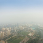 Aerial view of Beijing on a smoggy day.