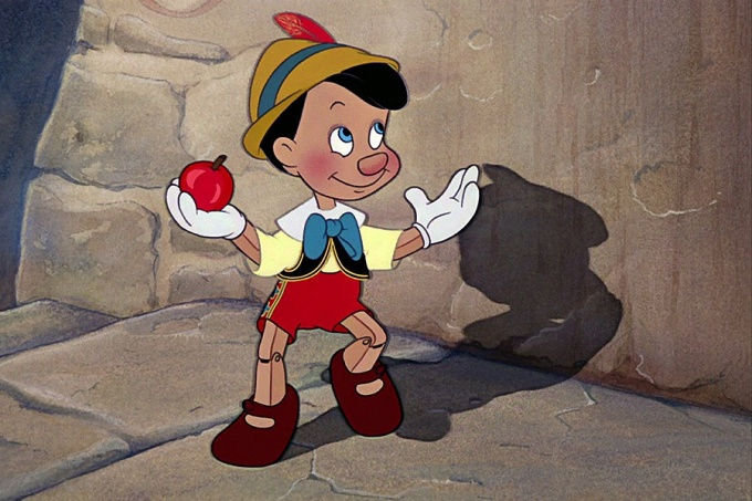 "Trailer image from 1940 animated Disney classic, ""Pinocchio.""."