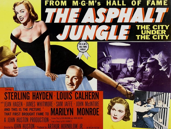 "Movie poster for ""The Asphalt Jungle,"" 1950, directed by John Huston."