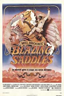 "Movie poster for ""Blazing Saddles,"" 1974, directed by Mel Brooks."