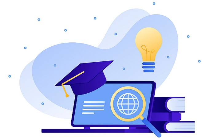 Online degree program concept.