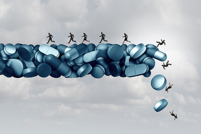 Concept of opioid health risk and medical crisis with a prescription painkiller addiction epidemic as a group of people running away from a dangerous falling bridge of pills.
