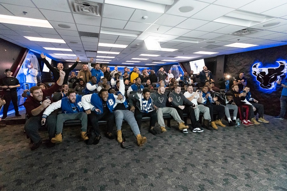 UB Bulls football team reacts to the Bahama Bowl announcement.