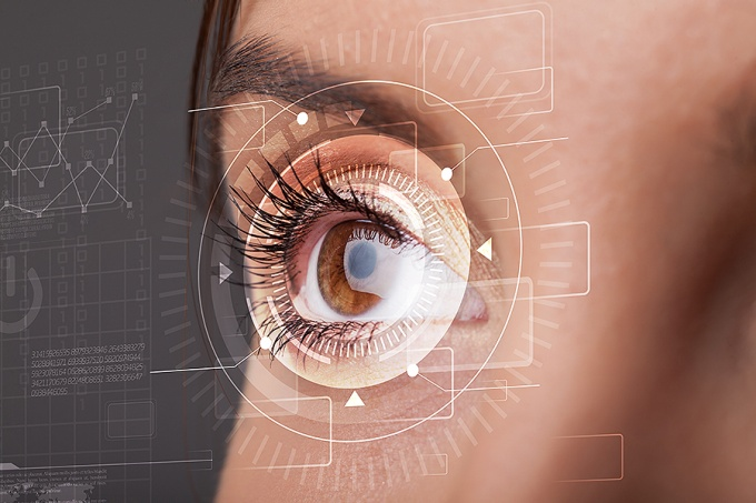 Close up of a woman's eye, concept of a digital eye scan.