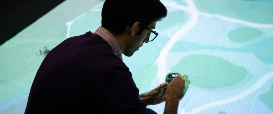 researcher working in a simulated environment.