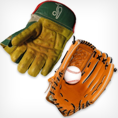 A Cricket glove and a Baseball glove.