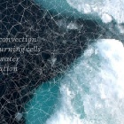 "The words, ""deep convection / overturning cells / deep water / formation"" and a grid-like pattern superimposed over an image of sea ice."