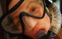 Closeup of Alexa Schindel in snorkel gear.