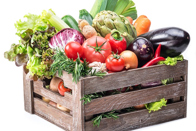 Fresh vegetables in a crate.