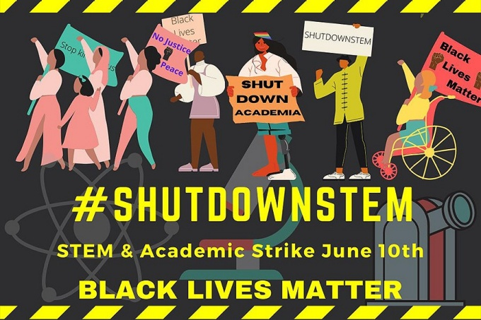 """#ShutdownSTEM"" promotional graphic featuring figures representing different ethnicities and ablities protesting in support of Black Lives Matter."