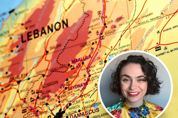 A map of Lebanon with an inset photo of PhD student Gabriella Nassif.