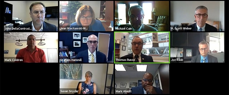 Screen capture of the virtual health and safety town hall meeting held on Wednesday, August 5, 2020.