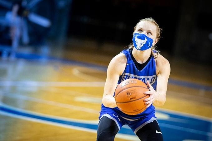 UB women's basketball team member, Hannah Hall, practices.