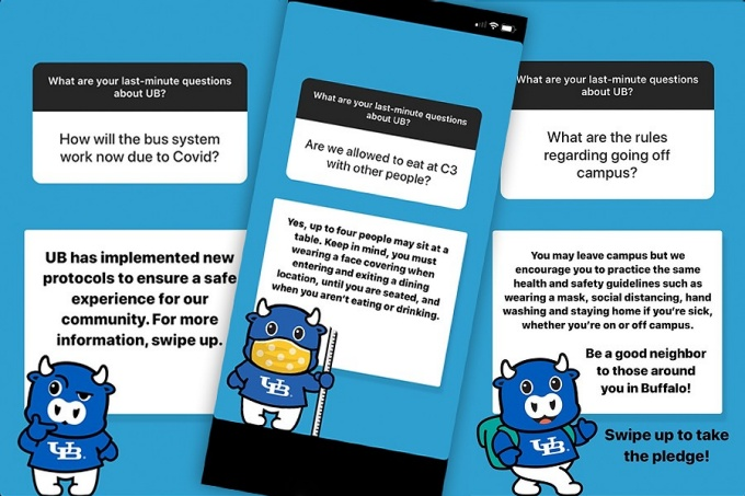 Screen captures of students' questions with responses featuring the Victor E. Bull icon.