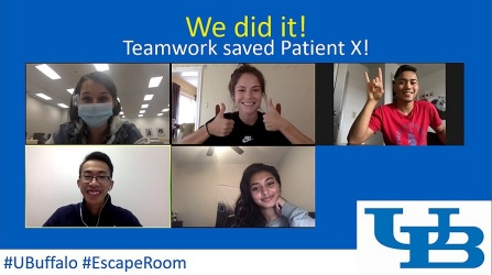 "Zoom meeting screenshot of nursing student who successfully completed an escape room-like exercise and saved ""patient X.""."