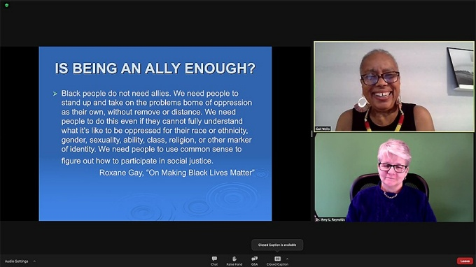 Gail Wells' and Dr. Amy Reynolds' webinar discussion about what being an ally entails.