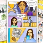 Compilation of pages from comics created by students from India, Mexico and the United States dealing with their experiences during the COVID-19 pandemic.
