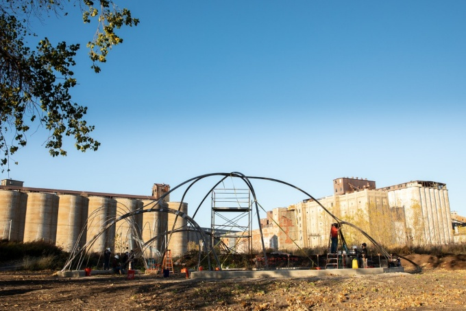 Steel structure at Silo City designed and built by UB architecture students.