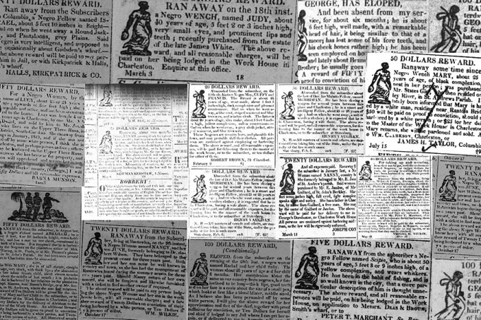 Collage of newspaper clippings offering rewards for run-away slaves.