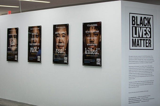 BLM Poster exhibit in the Silverman Library.