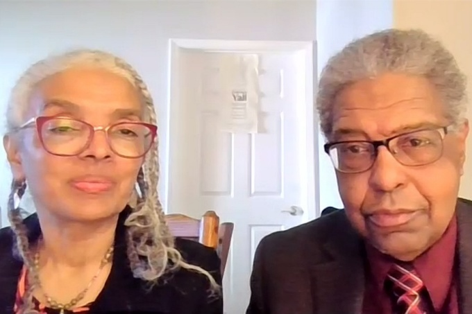 "A. Kirsten Mullen (left) and William A. Darity Jr., speak during the ""From Here to Equality: Reparations for Black Americans in the 21st Century,"" virtual presentation that was sponsored by the UB Center for Diversity Innovation in the College of Arts and Sciences."