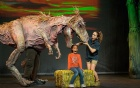 Aimee Louisanne with T-Rex and friend from DINOSAUR ZOO LIVE.  Photo C. Waits